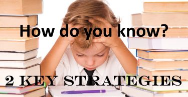 Small boy thinking, with books. How do you know? 2 key strategies.